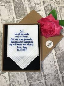 wedding photo - Father of the bride handkerchief and gift box, embroidered wedding handkerchief