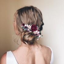 wedding photo - Flower hair comb, Burgundy flower hair vine, Flower hair clip, Bridal hair piece, Bridal hair accessories