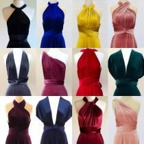 wedding photo - Velvet infinity dress fabric sample - all 15 colours