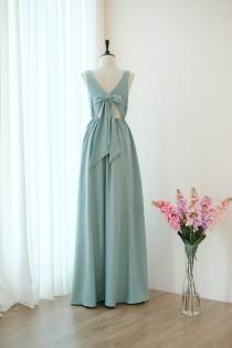 wedding photo - Dusty sage green dress Long Bridesmaid dress Wedding Dress Long Prom dress Party dress Cocktail dress Maxi dress Evening Gown