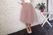 wedding photo - Dusty rose tulle tutu skirt tea length for bridal separates