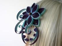 wedding photo - Purple and Blue Lotus Flower Hair Clip with Netting, Amethyst Purple and Blue Hair Pieces for Wedding
