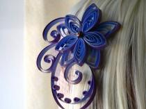 wedding photo - Bridal Hair Piece, Headpieces for Brides, Blue and Purple Bridal Flower Fascinator