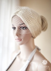 wedding photo - Mini Bridal Birdcage Veil, Ivory, Small birdcage Veil, Blusher Veil White, Birdcage Veil - June mini