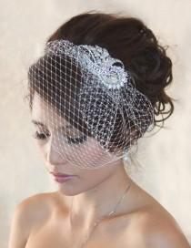 wedding photo - Wedding Birdcage Veil WITHOUT Crystal rhinestone brooch