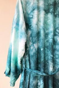wedding photo - Ready to Ship Hand Dyed Kimono Robe in Waikiki,  aqua blue, Anna Joyce, Portland, OR.