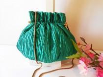 wedding photo - Vintage Green Evening Bag, Glamorous Clutch Bag Holiday Purse EB-0626