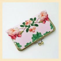 wedding photo - Wedding clutch bag, pink handmade purse with roses print, bridal purse with personalisation for boho weddings