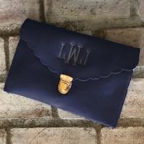wedding photo - NAVY CLUTCH BAG - Envelope Clutch - Bridesmaid Clutch - Leather Bag - Evening Bag - Envelope Bag - Personalized Bag - Wedding Clutch