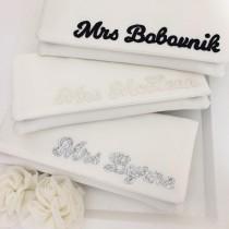wedding photo - Ivory personalised MRS surname satin wedding day bridal clutch purse