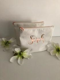 wedding photo - Personalized Cosmetic Bag , Bridesmaid Cosmetic Pouch , Cosmetic Bag , Bridesmaid Gift , MakeUp Bag , Custom Name Pouch, Rose Gold