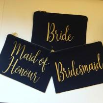 wedding photo - Wedding Party Canvas make up bags