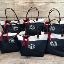 wedding photo - Personalized or Monogrammed Tote Bag for Bridesmaids, Teachers, Sororities! Embroidered or Vinyl, your choice!