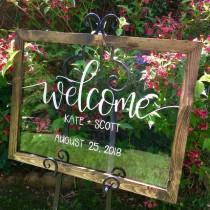 wedding photo - WELCOME WEDDING SIGN - Acrylic Welcome Sign with Wood Frame - Clear Wedding Sign