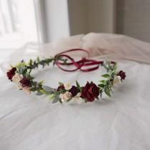 wedding photo - Burgundy and Blush Flower Crown. Fall flower crown. Burgundy flower crown. Burgundy headpiece. Wine flower crown. Pink floral crown. Boho