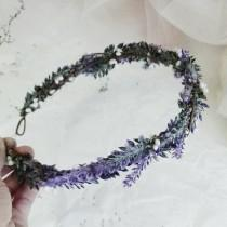 wedding photo - Flower Crown, Boho Wedding, Lavender hair crown, Floral Crown, Flower Head Piece, Flower Hair Accessory, Wedding Crown, Lavender Crown