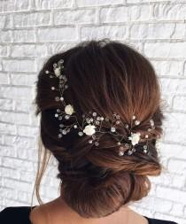 wedding photo - Rose gold hair vine Flower hair garland headband Wedding hair accessories Bride Crystal hair piece Bridal long vine Floral hair jewelry Prom