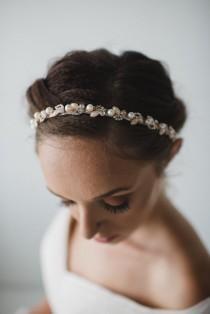 wedding photo - Rose Gold Pearl Bridal Headband