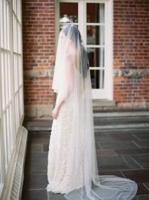 wedding photo - wedding veil with blusher, bridal veil, blusher veil, drop veil, chapel veil, ivory wedding veil, long wedding veil, sheer veil - ABIGAIL