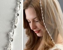 wedding photo - Pearl & Crystal Wedding Veil, Pearl Bridal Veil, Beaded Veil, Ivory Veil for Bride, Fingertip Length Bridal Veil, 1 Layer Veil ~VB-5062