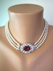 wedding photo - Pearl Choker With Ruby Clasp, 3 Strand Pearls, Cream Pearls, Side Clasp, Ruby Wedding Gift, Vintage Refurbished, Indian Bridal Choker, Deco
