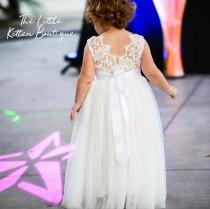 wedding photo - Ivory Flower Girl Dress, Junior Bridesmaid dress, lace flower girl dresses, Rustic lace flower girl dress, White and Ivory Tulle Flower Girl