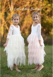 wedding photo - Blush pink tulle flower girl dress, White lace flower girl dress, Rustic flower girl dress, Ivory Boho flower girl dress, Toddler dress tutu