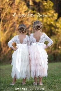 wedding photo - Long sleeve lace and tulle flower girl dress , rustic lace flower flower girl dress, ivory boho flower girl dress, pink flower girl dress