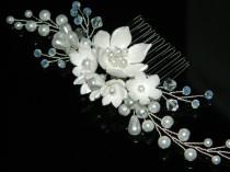 wedding photo - Pearl Floral Bridal Hair Comb, White pearl Boho Hair Piece, Wedding Pearl Crystal Hair Comb, Pearl Bridal Headpiece, Pearl Hair Jewelry