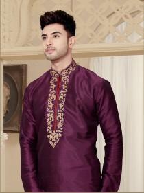 wedding photo - Traditional Fancy dark purple Man's Kurta Pajama in plus size, Embroidery Work, Anniversary, party Kurta, wedding kurta pajama