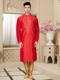 wedding photo - Traditional Fancy red Man's plus size kurta pajama, Embroidery Work, Anniversary, party Kurta, wedding kurta pajama