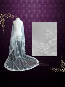 wedding photo - Cathedral Veil, Mantilla Veil with Floral Lace Edge, Wedding Veil, Lace Veil, Long Veil