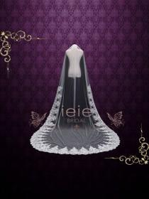 wedding photo - Cathedral Lace Mantilla Veil with beadings, Wedding Veil, Single Tier Veil, Lace Veil, Long Veil