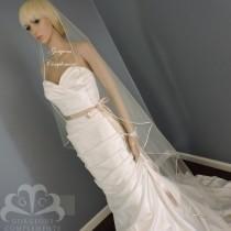 wedding photo - Sweetness -Single Tier Satin Rattail Edge Wedding Veil Cascade Choose Length, Bridal Veil SW45RE
