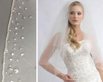 wedding photo - Crystal Wedding Veil, Beaded Bridal Veil, 2 Layer Veil, Tulle Veil, White Veil, Ivory Veil, Elbow Length Veil ~VB-405