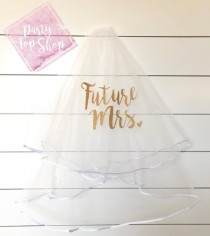 wedding photo - Custom Bachelorette Veil, Bride To Be, Future Mrs Veil, Personalized Party Veil, Double Layer Veil, Stagette Bridal Shower Gift