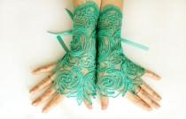 wedding photo - Green lace gloves, wedding bridal gloves, fingerless gloves, steampunk noir gloves, gothic belly dance, green mitten lace cuff