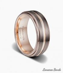 wedding photo - Mens Wedding Band, Rose Gold Ring, Custom Engagement Band, Mens Tungsten Rose Gold Band, Mens Wedding ring, Modern Ring for Him,