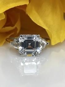 wedding photo - Moissanite asscher cut engagement ring, with trillion accents, 3.00ctw. 14k white gold #5241