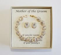 wedding photo - Mothers gift, Custom Engraved Mother of the groom set, Mother of the bride set, Bridal bracelet earrings, Mother jewelry, Mother in law