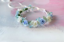wedding photo - Blue flower girl crown Roses headband Wedding flower crown Blue floral crown Bridesmaids headpiece Blue white flower crown