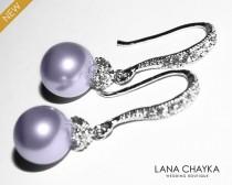 wedding photo - Lavender Pearl Drop Earrings Lilac Pearl Small Earrings Swarovski 8mm Pearl Sterling Silver CZ Wedding Earrings Lavender Pearl Prom Jewelry