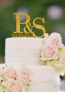 wedding photo - Initials Cake Topper Letter Cake Toppers Names and Date Personalized Wedding Cake Topper Monogram Cake Topper  Rose Gold Custom Topper