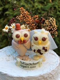 wedding photo - Owl love bird wedding cake topper, rustic country wedding cake topper, custom bride groom cake topper, pinecone bouquet, bigger figurines
