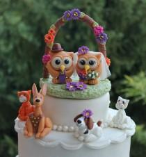 wedding photo - Owl wedding cake topper with pets, arch and base, personalized pet cake topper, I do too