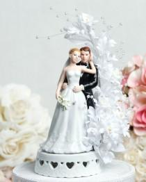 wedding photo - Calla Lily Arch Cake Topper - Custom Painted Hair Color Available - 104923C