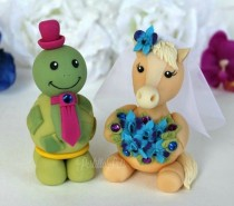 wedding photo - Horse and turtle wedding cake topper, palomino bride and turtle groom, with banner, customizable