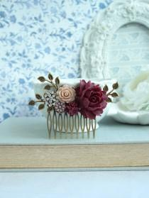 wedding photo - Burgundy Red Flower Comb Marsala Brown Antiqued Hair Comb Rustic Wedding Comb Brown Maroon Dark Red Gold Leaf Branch Flower Bridal Hair Comb