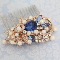wedding photo - Rose Gold ,Silver Boho Headpiece,Sapphire crystal Wedding comb,Rose gold hair vine,Wedding hair comb,Pearl hair accessoy,Rhinestone hari