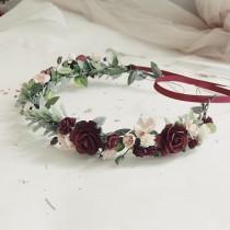 wedding photo - Child floral crown, burgundy child greenery crown, flowergirl crown, greenery headband, greenery geadwreath, rustic crown, woodland crown, t